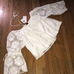 Jeans by Buffalo White Lace Bell Sleeve Top